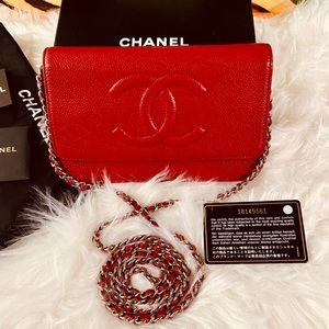 ♥️🌹AUTHENTIC CHANEL CC RED CAVIAR WALLET ON CHAIN